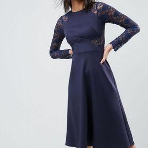Lace Long Sleeve Navy Midi Occasion Wedding Dress